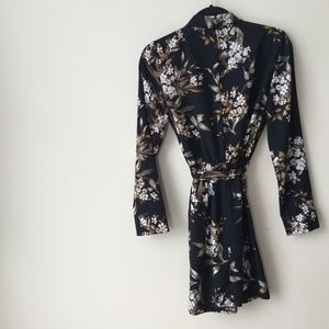 Dynamite Black Floral Button-Down Dress